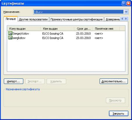 Управление SSL сертификатами в MS Internet Explorer