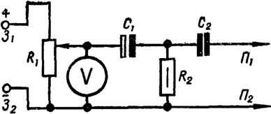 Схема устройства для испытания электролитического конденсатора на качество контактов в выводах