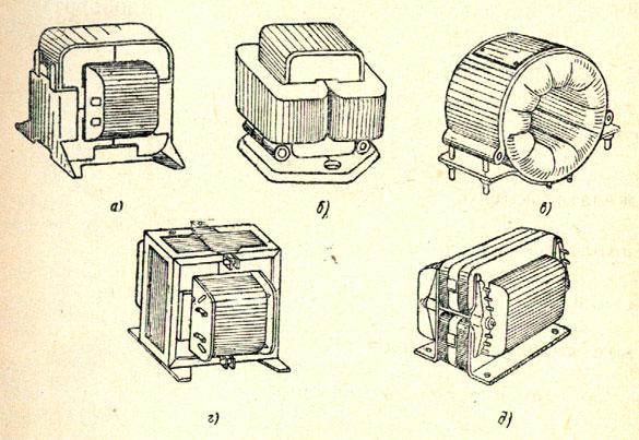 Типичные конструкции однофазных дросселей открытого исполнения: а — броневой с ленточным магнитопроводом; б — стержневой с ленточными сердечниками и двумя катушками; в — тороидальный; г — броневой с сердечником из штампованных пластин; д — броневой с креплениями из пластмассы